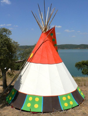 A teepee on the shores of Lake Idanha-a-Nova. Festival Boom, Portugal.