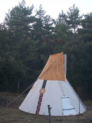 "Feathers teepee in a meadow of ""La Encantada"" Spain"