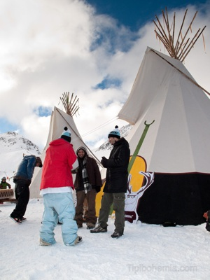 Two teepees of 6,5m in Andorra, Spanish Pyrenees.