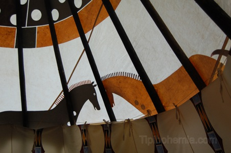 Inside of teepee with painted lining and cover