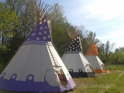 """Teepees for """"Sleep'em'All"""", camp in France."""