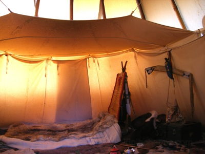 Inside of Garik's teepee, with lining and ozan.