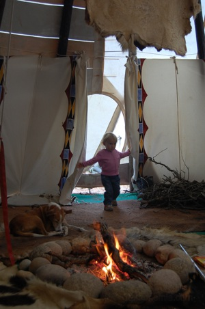 Fire inside of Kiowa Teepee.