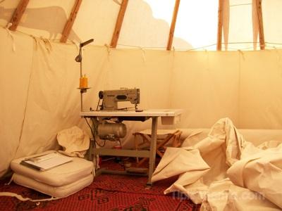 Sewing workshop inside a 7m teepee.