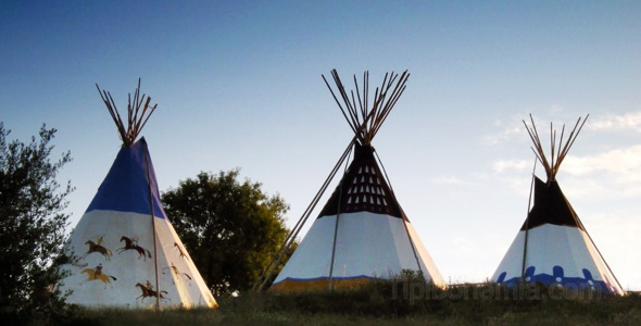 Three teepees on the hill.