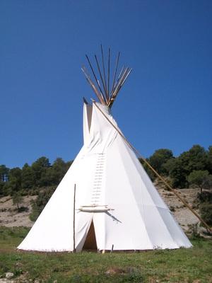 10m teepee as ceremonial lodge. La Encantada, Spain.